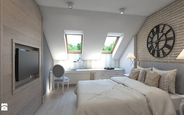 Sypialnia na poddaszu nowoczesne wykończenie