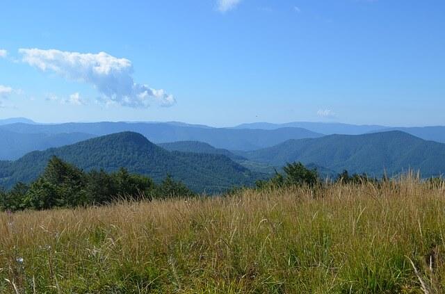 Widoki na góry w Bieszczadach