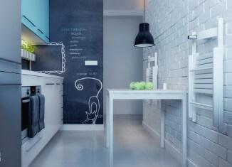 niebieska kuchnia w stylu skandynawskim