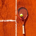 Rakieta tenisowa i piłeczka na korcie
