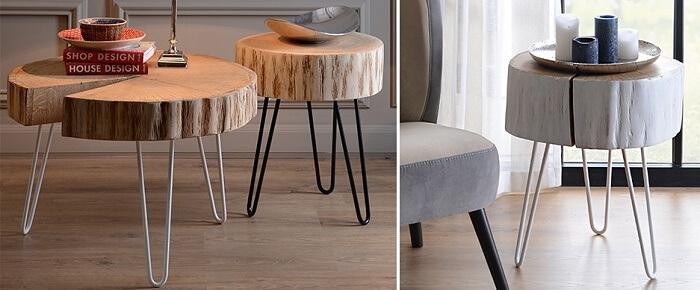 Stoliki z dębowego drewna