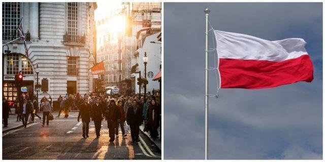 Ludzie obcych narodów i polska flaga